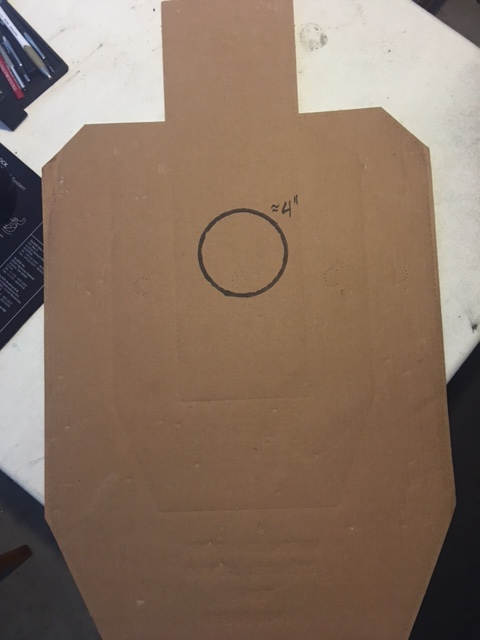 IPSC/USPSA Metric target with four inch circle inside A zone.